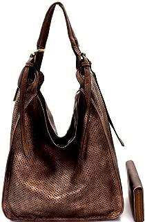 Single Strap Boho Laser-cut Lightweight PU Leather Tall Hobo Bag Wallet SET