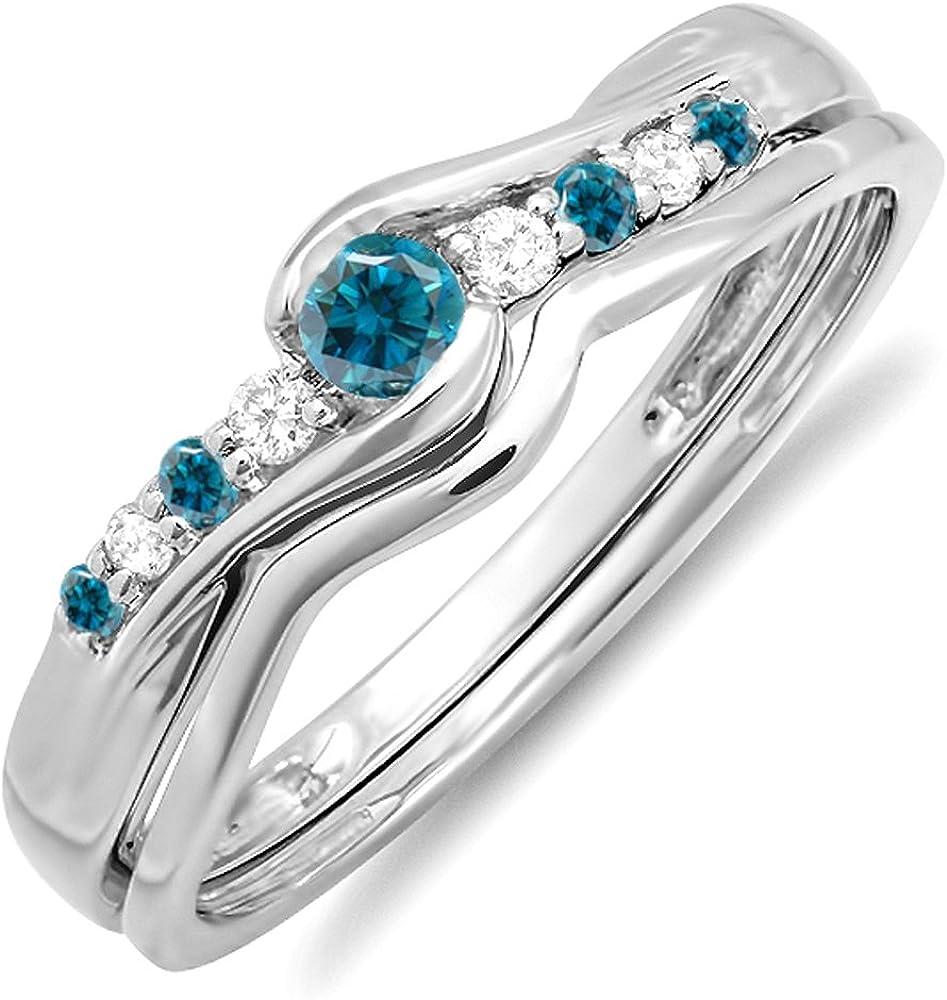 Dazzlingrock Collection 0.25 Carat (ctw) 10k Round Blue & White Diamond Ladies Bridal Promise Wedding Set Ring 1/4 CT, White Gold
