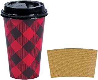 Disposable Coffee or Hot Chocolate Cups - Buffalo Plaid, 12-ct with Blank Kraft Sleeves