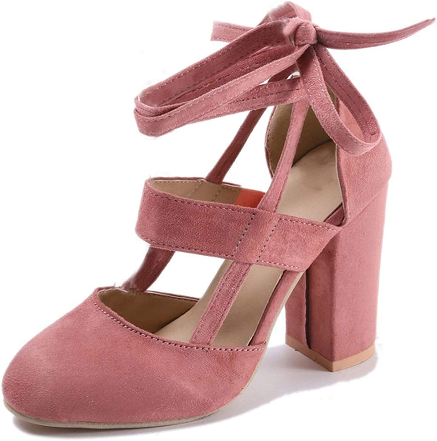 Monica's house Plus Size Female Ankle Strap High Heels shoes Thick Heel for Women Party Wedding,Pink,10