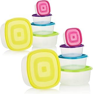 COM-FOUR® Ensemble de 10 bocaux en plastique, contenant de rangement, boîtes de rangement pour aliments en 5 tailles, conv...