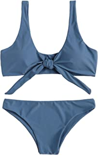 e068009ee35 SweatyRocks Women s Sexy Bikini Swimsuit Tie Knot Front Swimwear Set