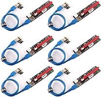 Ubit PCIe Riser, 3 en 1 1x a 16x Pcie Riser Board con LED Hint, Cable Custom Custom de 60 cm USB 3.0, 3 Opciones de...