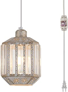 YLONG-ZS Hanging Lamps Crystal White Swag Lamp Rustic Pendant Light Plug in 16.4 FT Cord Hanging Pendant Light Cage in-Line On/Off Dimmer Switch for Kitchen Island, Dining Room, Living Room,Corner