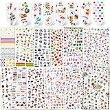 Qpout 1200 + Designs Adesivi per unghie assortiti Decalcomanie, Fiore Animale Frutta Sirena Adesivi per nail art 3D Consigli per unghie autoadesivi Decorazioni per manicure per donne Ragazze Bambini