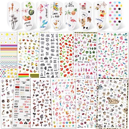 Qpout 1200+ Designs Verschiedene Nagelaufkleber Abziehbilder, Blume Tier Frucht Meerjungfrau 3D Nail Art Aufkleber Selbstklebende Nagelspitzen Maniküre Dekorationen für Frauen Mädchen Kinder