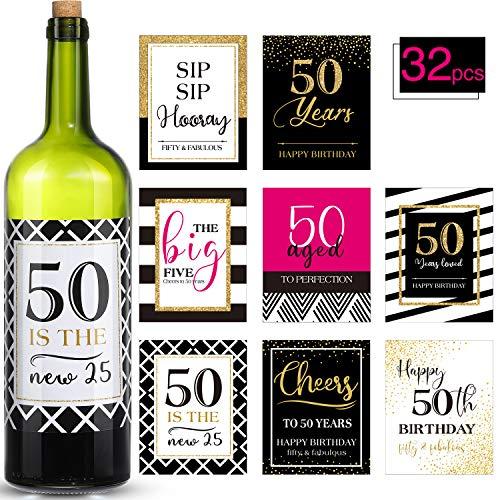 32 Piezas Pegatinas Etiquetas Adhesivas de Botella de Vino o Cerveza de Fiesta de Cumpleaños de 50 Años Adornos de Cumpleaños Regalos