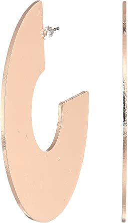 Wide Flat C Hoop Earrings