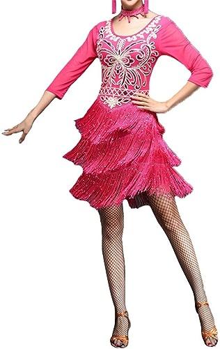 Robe de danse latine Robe de perforhommece Femmes Mousseux Sequin Fleur Frangé Flapper Robe De Danse Latine à Manche Manches Glands Salle De Danse Danse Danse Compétition Danse Costumes De Perforhommece C