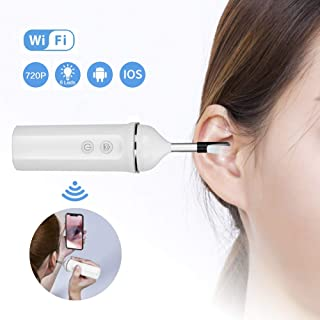 Otoscope Ear Cleaner Wireless Ear Camera 720P HD Earwax Removal Tool with 6 Adjustable LEDs for iOS and Android Smartphone, iPhone, iPad, Samsung