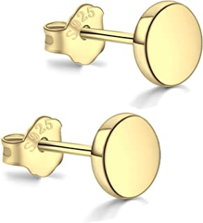 18K Gold Plated Sterling Silver Dot Stud Earrings 3mm-8mm Options, Flat Round Disc Studs Hypoallergenic Jewelry