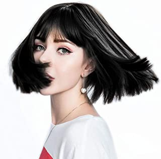 DASANI Short Bob Hair Wigs for Women, Black Wigs with Bangs Straight Synthetic Wig Natural As Real Hair 12'' (01black)