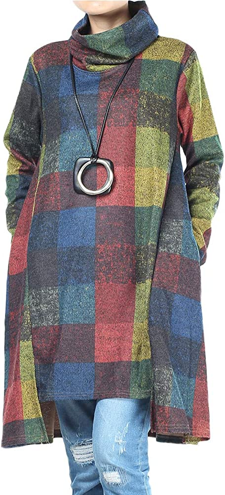 FTCayanz Women's Long Sleeve Tunic Tops Turtleneck Plaid Midi Dresses with Pockets