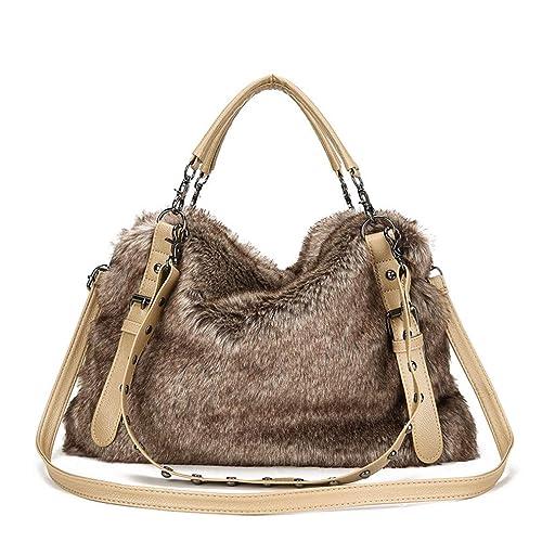 cef3f4cacd0a Winter Faux Fur Handbags Big Women Shoulder Bag Crossbody Bags Large Tote  Purse And Handbag With