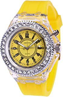 Fashion Transparent Neutral Quartz Luminous Female Silicone Tape Sports Watch Watches for Women on Sale (Yellow)