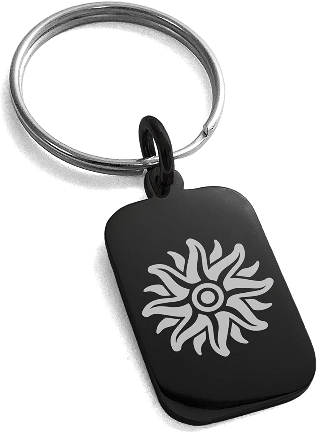 Tioneer Stainless Steel Apollo Greek God of Sun Symbol Small Rectangle Dog Tag Charm Keychain Keyring