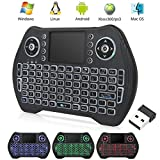 EASYTONE Backlit Mini Wireless Keyboard With Touchpad Mouse Combo and Multimedia Keys