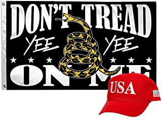 GOEMIX Trump USA Cotton Embroidered Caps & Don't Tread On Me Yee Yee 3x5 Inch Flags Double Stitched Car Flags with Brass Grommets