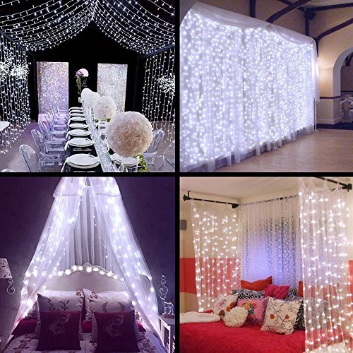 Curtain Lights - SurLight 9.8ft*9.8ft 306LEDs Window Icicle Lights with 8 Lighting Modes, Christmas LED String Fairy Lights for Christmas Wedding Valentine's Day Holiday Garden Patio, Cool White
