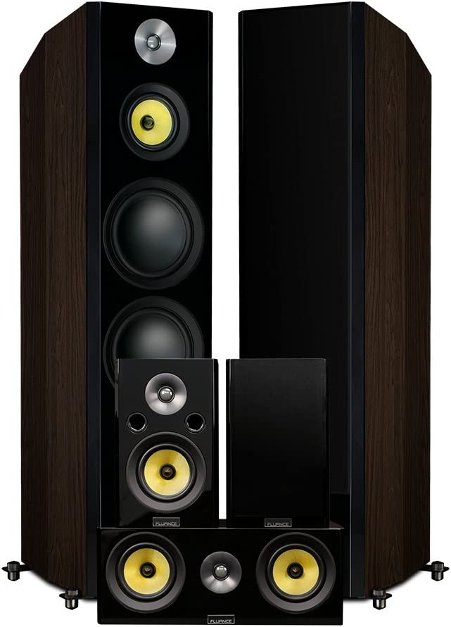 Fluance Signature HiFi Surround Sound Home Theater 5.0 Channel Speaker System Including 3-Way Floorstanding Towers