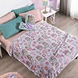 Pusheen The Cat Plush Throw Blanket Super Soft Fluffy Fleece with Mermaid Pillow Bedding Decoration 2PCS Limited Edition