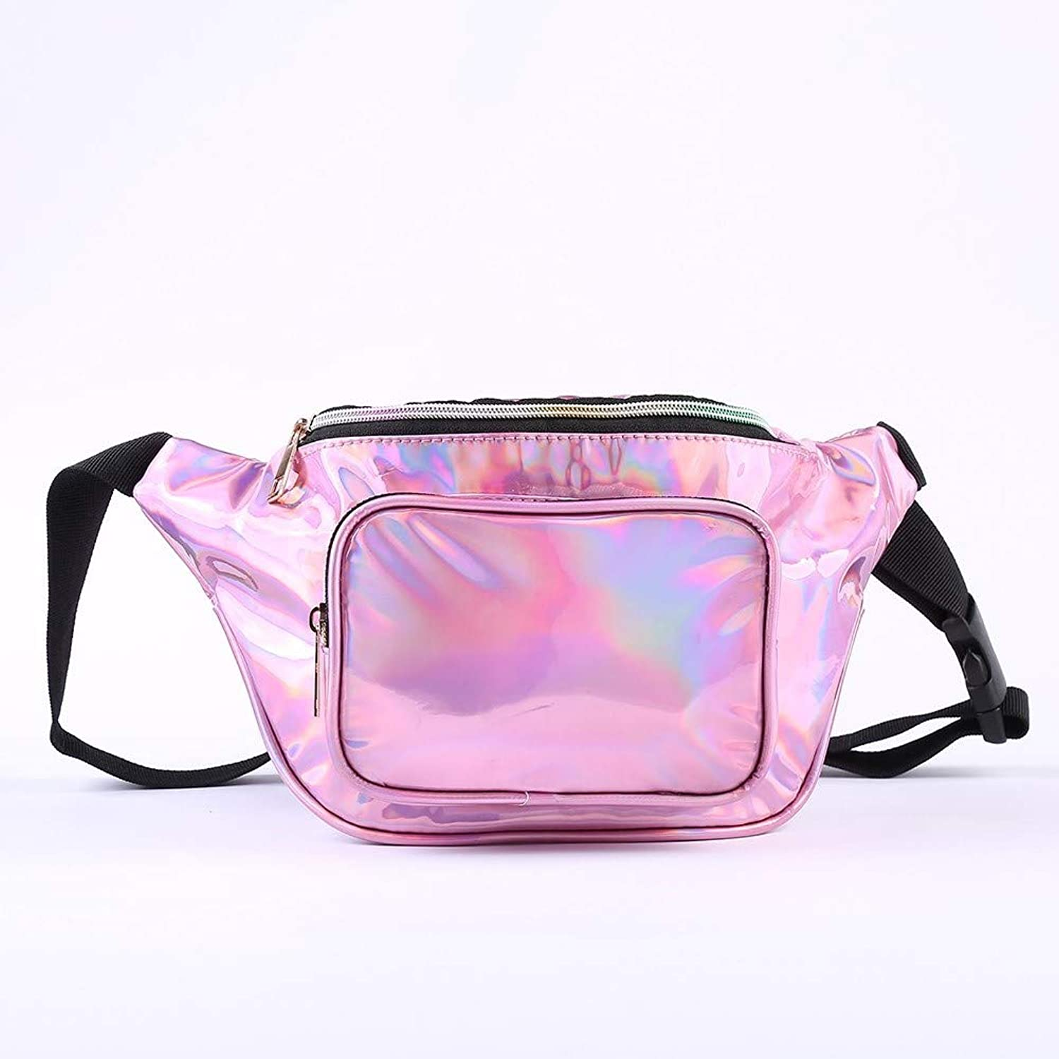 Women Fanny Pack Holographic Waist Pack Festival Bum Bag-Fanny Pack with Adjustable Belt for Travel,Cycling,and Leisure (pink Pink)