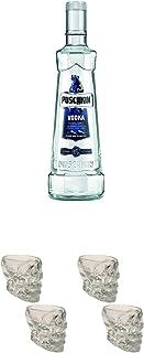 Puschkin Vodka 3,0 Liter  Wodka Totenkopf Shotglas 2 Stück  Wodka Totenkopf Shotglas 2 Stück