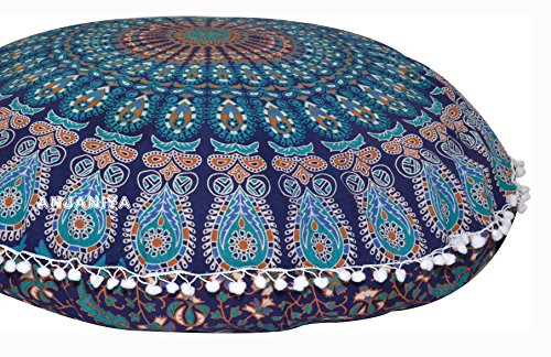 ANJANIYA - 32' Peacock Mandala Bohemian Yoga Meditation Floor Pillow Cover Comfortable Home Car Bed Sofa Cushion Couch Seating Large Zipped Throw (Blue Green, 32 inches)