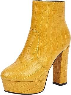 ELEEMEE Women Fashion Chunky Heel Ankle Boots Zip