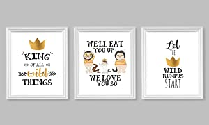 Sweet Wild Things Themed Wall Art Decor (Set of Three) We'll Eat You Up We Love You So