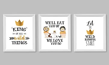 Silly Goose Gifts Sweet Wild Things Themed Wall Art Decor (Set of Three) We'll Eat You Up We Love You So