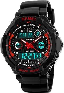 キッズ 腕時計 TANOKI ウォッチ 子供用 ガールズ 多機能 50m防水 アナデジ 女の子 腕時計 スポーツ 目覚まし時計 アラーム付き 誕生日 プレゼント レッド