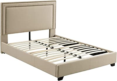 Mantua Baffin Upholstered, Queen, Taupe Linen Platform Bed,