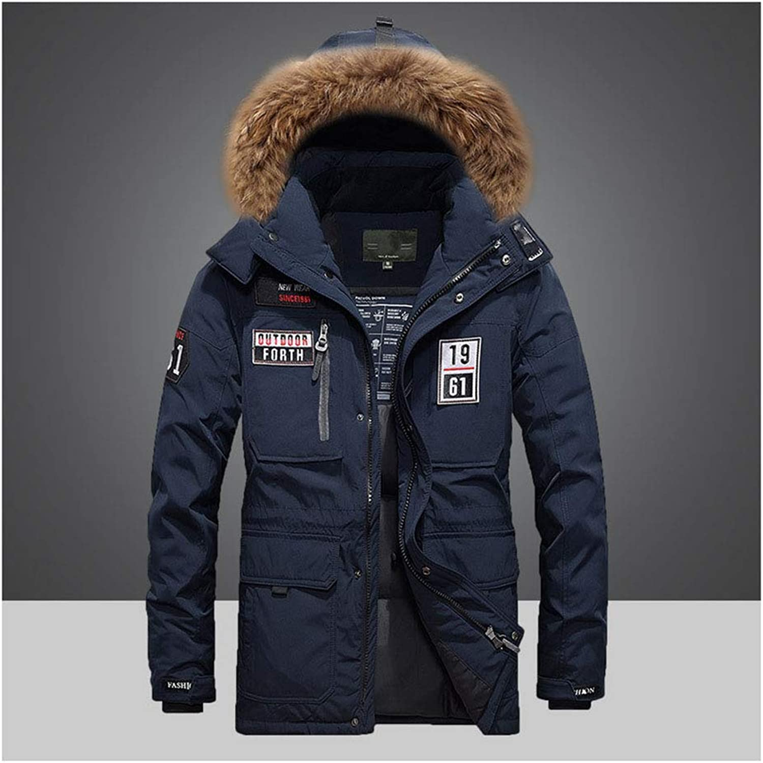LIHUA Down Jacket Men Thick Outdoor Large Size Men's Large Fur Collar Down Jacket (color   bluee, Size   L)