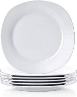 Y YHY 10.5 Inches Porcelain Dinner Plates, Square Round Serving Plate Set, Set of 6, White