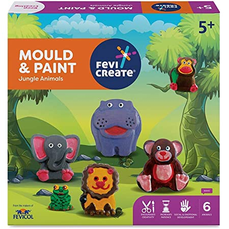 Pidilite Fevicreate Educational Games, DIY Mould & Paint Jungle Animals Craft Kit for Kids, Fun & Learning Activity Games for Kids of 5 Years & Above