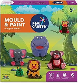 Pidilite Fevicreate Educational Games, DIY Mould & Paint Jungle Animals Craft Kit for Kids, Fun & Learning Activity Games ...