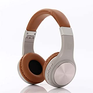 Wireless Bluetooth Over Ear Stereo Foldable Headphones, Wireless And Wired Mode Headsets with Soft Memory-Protein Earmuffs, Built-In Mic,Brown