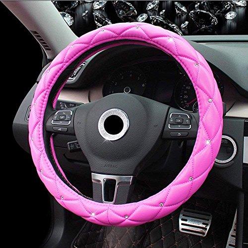 Funda para volante de coche Lisaion, 38 cm, piel sintética universal, contiene diamantes de imitación, para las cuatro estaciones, para mujeres y niñas