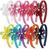 7Rainbows Grosgrain Ribbon Flower with Acrylic Diamond Headbands for Girls Toddlers Teens.