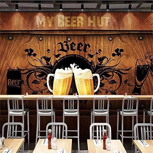 JIYOTTF Papel tapiz fotográfico 3D pegar mural de pared sala de estarAbstracción nostalgia cerveza paneles de madera.(W 200x H 150cm) Papel tapiz mural Pintura de pared 3D Dormitorio infantil Autoadh