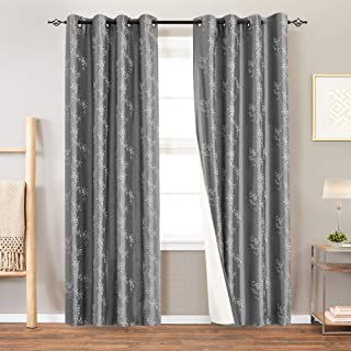 jinchan Lined Luxury Faux Silk Floral Embroidered Grommet Top Curtains for Bedroom Embroidery Curtain for Living Room, 2 Panels,84