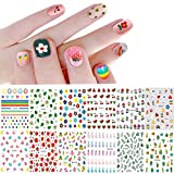 Nail Stickers for Women and Little Girls - 12 Sheets 3D Self-Adhesive DIY Nail Art Decoration Set Including Flowers Leaves Animals Plants Fruits Nail Decals for Woman Kids Girls