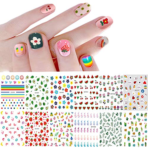Nail Stickers for Women and Little Girls - 12 Sheets 3D Self-Adhesive DIY Nail Art Decoration Set Including Flowers Smiling Face Animals Plants Fruits Nail Decals for Woman Kids Girls