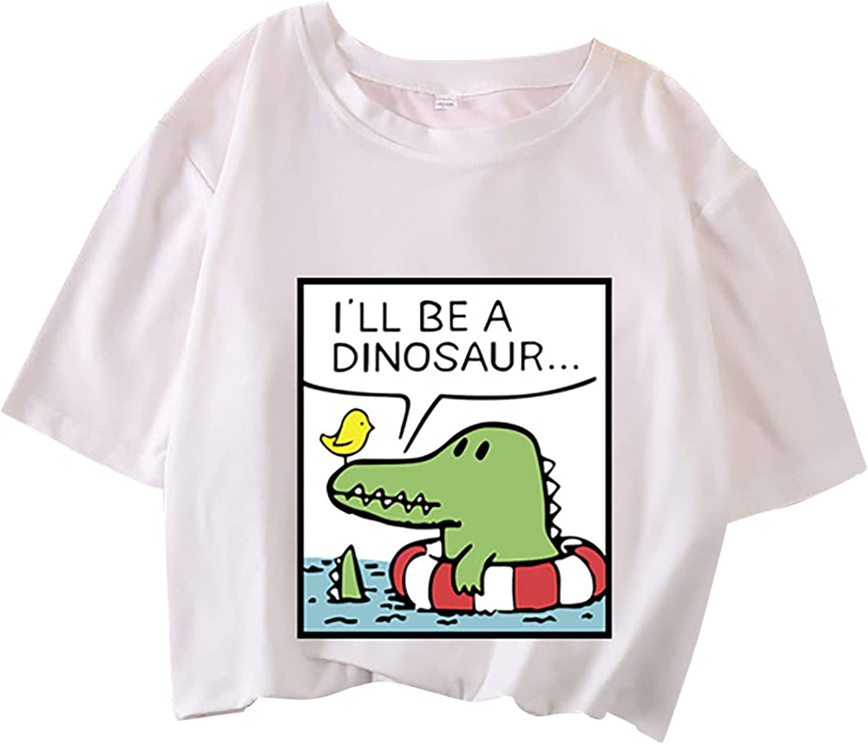Womens Graphic Tees Funny,Womens Crewneck Cute Dinosaur Print Short Sleeve T Shirt Blouses Plus Size Casual Tee Tops