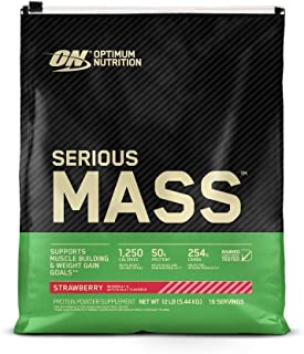 Optimum Nutrition Serious Mass Strawberry Protein Powder Gainer, 5.44 Kilograms