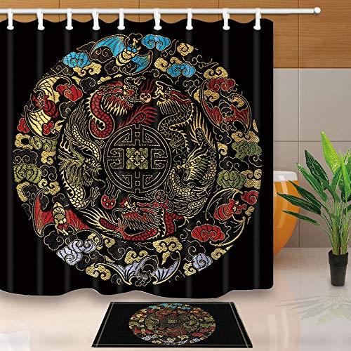 vrupi Chinesische Drachen Stickmuster Mode Duschvorhang Set 3D-Druck mit 12 Haken wasserdichte Beschichtung Polyestergewebe Duschvorhang 71x71inch Bad Teppich 60x40cm