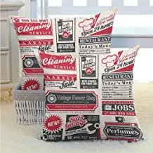 SEMZUXCVO 1950S Decor Living Room Sofa Hug Pillowcase Retro Newspaper Magazine Design On Outdated Layout Different Topics Title Artwork Soft and Durable W16 x L16 inch Beige Pink