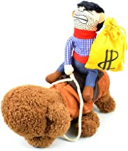 Cuteboom Dog Costumes Pet Costume with Money Bag Pet Halloween Suit Cowboy Rider Style Dogs Outfits(Money Bag, S)