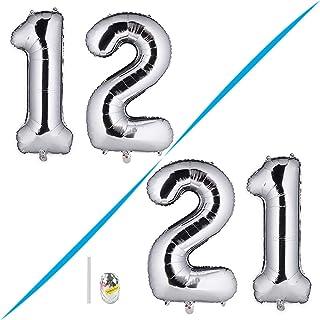 Huture 2 Globos Número 12 Figuras Globo Inflable de Helio Globos Grandes de Aluminio Mylar Globos Gigantes de Plata Número de Globos de 40 Pulgadas para Fiesta de Cumpleaños Decoración XXL 100cm …